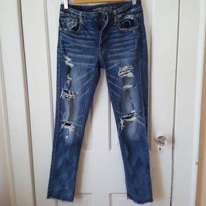 Distressed boyfriend fit American Eagle Jeans
